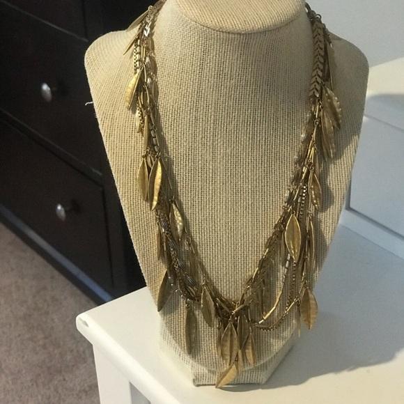 Stella & Dot Jewelry - Stella and dot gold leaf necklace